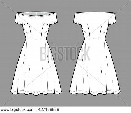 Set Of Dresses Off-shoulder Bardot Technical Fashion Illustration With Short Sleeves, Fitted, Knee L