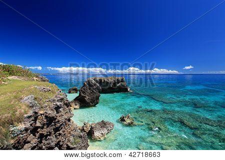 Sea of emerald green of the Okinawa.