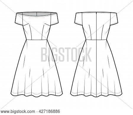 Set Of Dresses Off-shoulder Bardot Technical Fashion Illustration With Short Sleeves, Fitted Body, K