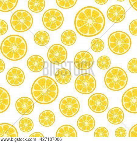 Cute Vector Lemon Seamless Pattern. Cartoon Summer Fresh Fruit Circle Slice, Lemons Sliced Print On
