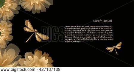 Vector  Template, Banner Mystic And Elf Theme, With Flowers And Dragonflies, Copy Space. Black, Gree