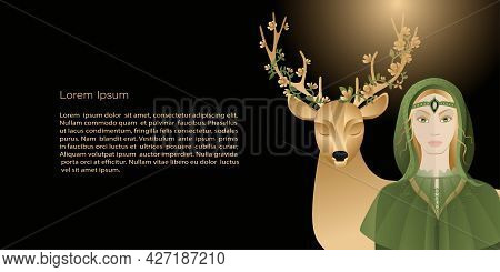 Vector  Template, Banner Mystic And Elf Theme, Elf Girl, Deer With Flowers In Horns, Copy Space. Bla