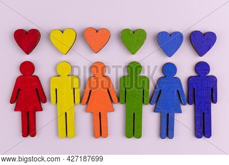 Baner Of Lgbt Community Little People In The Colors Of The Lgbt Community Flag Concept Of Equality F