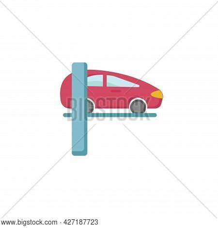 Car Lifting Clipart. Car Lifting Repair Isolated Simple Flat Vector Clipart