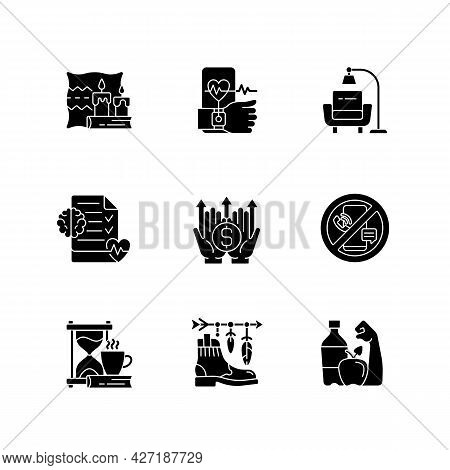 Modern Lifestyle And Health Black Glyph Icons Set On White Space. Cozy Interior. Minimalism. Mental