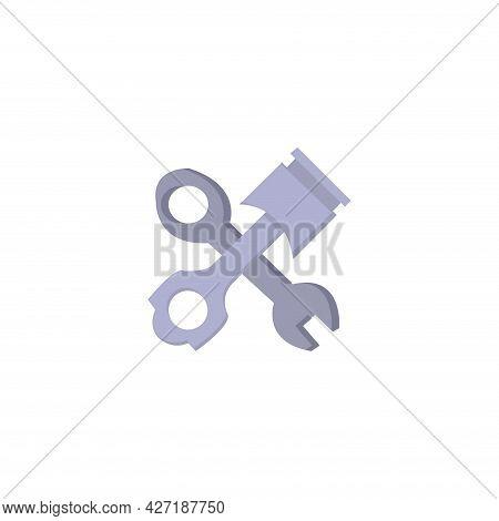 Car Piston Repair Clipart. Car Piston Isolated Simple Flat Vector Clipart