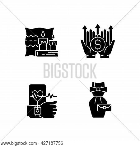 Lifestyle Tendencies Black Glyph Icons Set On White Space. Hygge Life. Wealth Building. Health Track