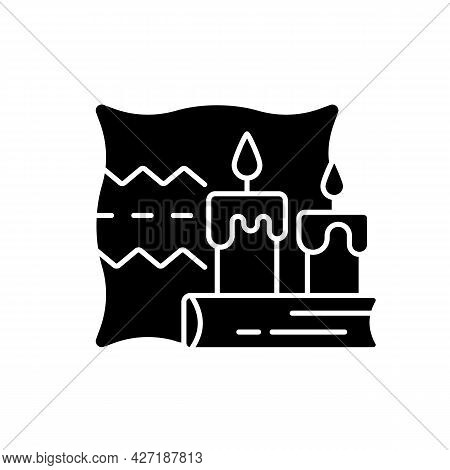 Hygge Black Glyph Icon. Key To Happiness. Nordic Lifestyle Trend. Comfortable Atmosphere Creation. C