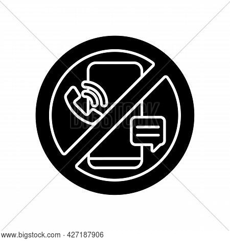 Digital Detox Black Glyph Icon. Refraining From Using Tech Devices. Fully Disconnection From Smartph