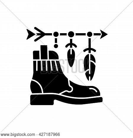 Boho Lifestyle Black Glyph Icon. Practicing Unconventional Style. Hippie Fashion. Bohemian Accessori