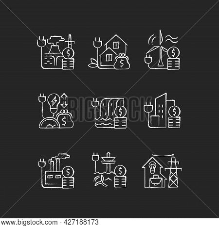 Energy Prices Chalk White Icons Set On Dark Background. Hydropower, Wind Power Production Cost. Expe