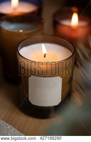 Aromatherapy scented candle with blank label