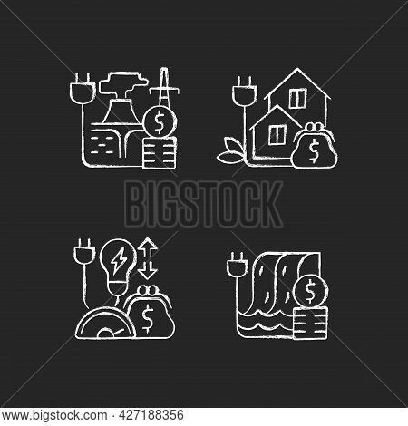 Electrical Power Cost Chalk White Icons Set On Dark Background. Geothermal Energy Purchase. Green Pr