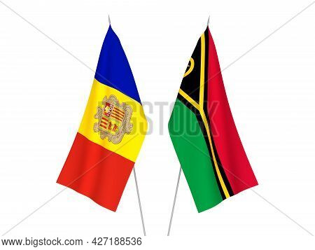 National Fabric Flags Of Andorra And Republic Of Vanuatu Isolated On White Background. 3d Rendering