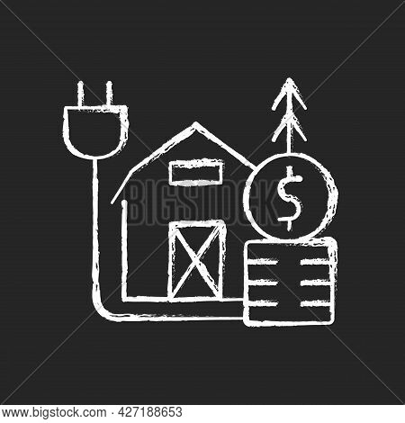 Rural Energy Price Chalk White Icon On Dark Background. Electrical Power Consumption In Villages And