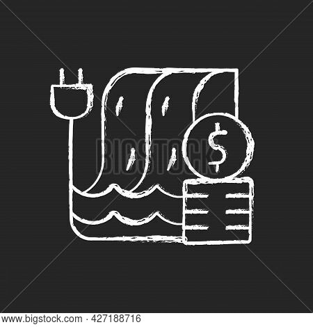 Hydropower Pricing Chalk White Icon On Dark Background. Water Dam For Sustainable Production Of Elec