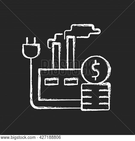 Energy Price For Industry Chalk White Icon On Dark Background. Industrial Power Consumption Financia