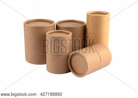 Different Paper Tubes With Paper Cap Or Lids, Cardboard Containers For Packaging Isolated On White B