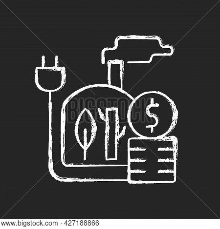 Biomass Energy Price Chalk White Icon On Dark Background. Sustainable Power Consumption Cost. Renewa