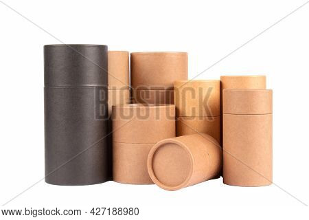 Different Black And Brown Paper Tubes With Paper Cap Or Lids, Cardboard Containers For Packaging Iso