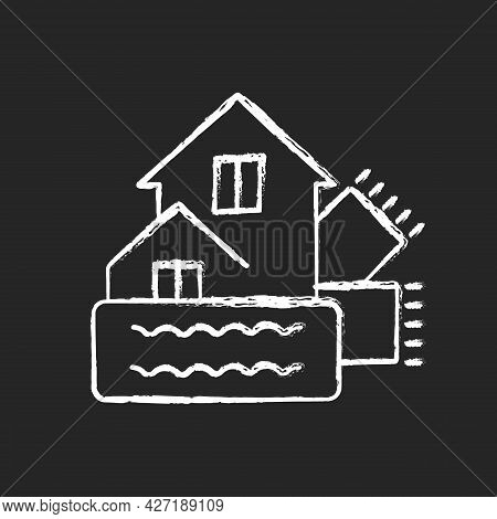 Weatherization Chalk White Icon On Dark Background. Weatherproofing Building. Insulation For Home. H