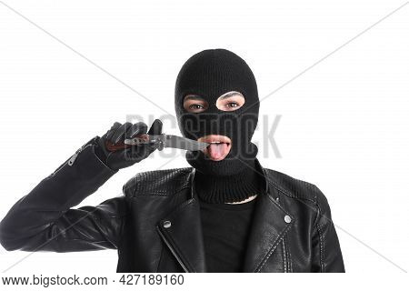 Woman Wearing Knitted Balaclava With Knife On White Background