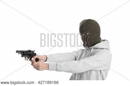 Woman Wearing Knitted Balaclava With Gun On White Background