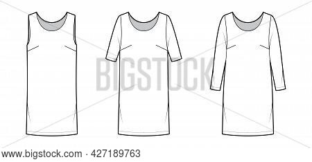 Set Of Dresses Shift Chemise Technical Fashion Illustration With Long Elbow Short Sleeve Sleeveless,