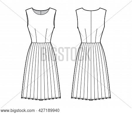 Dress Pleated Technical Fashion Illustration With Sleeveless, Fitted Body, Knee Length Skirt. Flat A