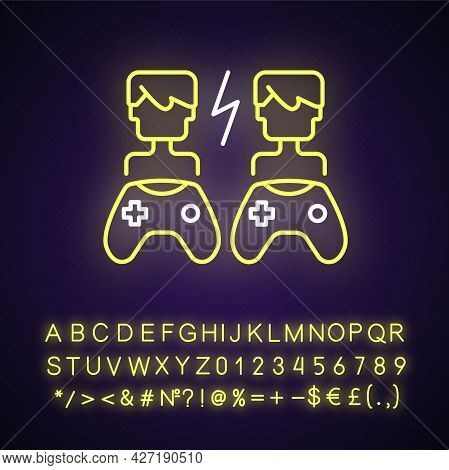 Player Versus Player Games Neon Light Icon. Users Compete Against Each Other. Outer Glowing Effect.