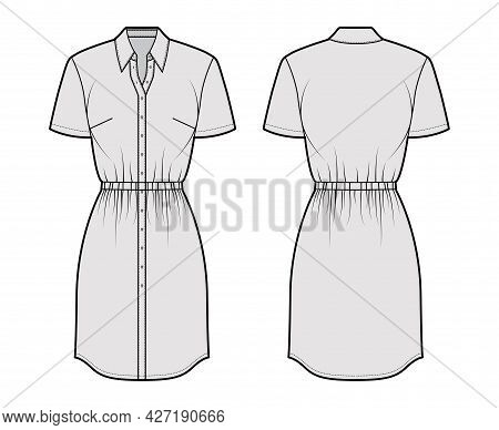 Dress Shirt Technical Fashion Illustration With Gathered Waist, Short Sleeves, , Knee Length Skirt,
