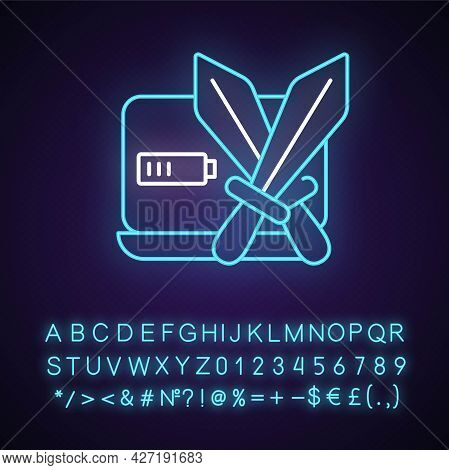 Combat Games Neon Light Icon. Special Genre Which Includes Fighting Between Characters. Outer Glowin