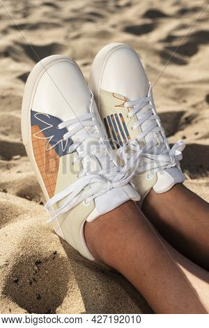 Cool canvas sneakers men's apparel summer fashion beach photoshoot