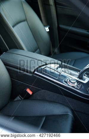 Leather Black Armrest In Car