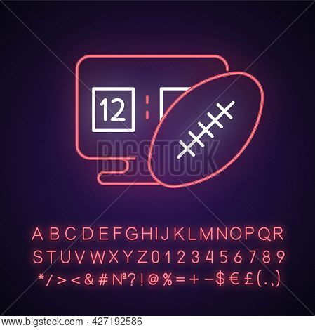 Online Football Games Neon Light Icon. Modern Sport Matches Simulator Types. Outer Glowing Effect. S