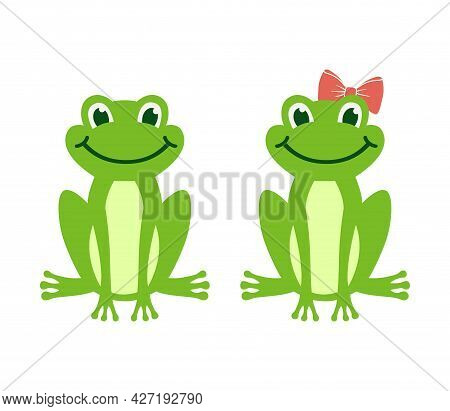 Vector Cartoon Green Frog Isolated On White Background. Frogs Boy And Girl With Bow Sit And Smile. C