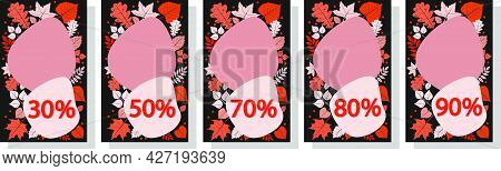 Advertising Banner With Autumn Discounts And Autumn Leaves. The Percentage Of Discounts. A Set Of Fi