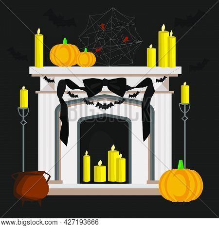 Halloween Home Decoration, Fireplace, Candles, Pumpkins, Cobwebs. Creepy Night Party By Hand Vector