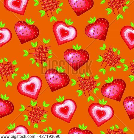 Seamless Pattern With A Pattern Of Strawberries. A Child-friendly Drawing Design With Cute Strawberr