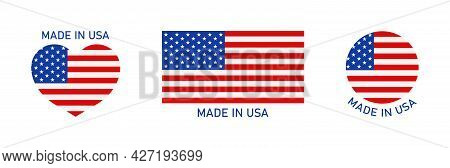 Made In Usa Icon. Flag Of America For Badge, Logo Of Product. American Stamp, Banner, Label And Stic