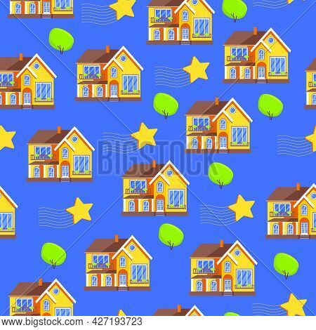 Trees And Houses Of A Seamless Pattern. Night, Night City Landscape. It Can Be Printed And Used As W
