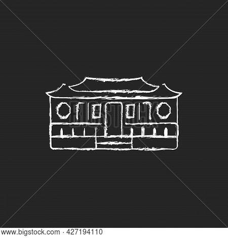 Longshan Temple Chalk White Icon On Dark Background.taipei Old Village Part. Oriental Ancient Buildi