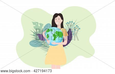 The Earth Is In The Hands Of A Woman. The Concept Of Caring For The Environment. Conservation And Pr