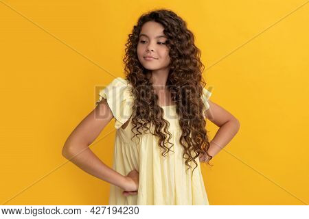 Arrogant Kid With Long Curly Hair And Perfect Skin, Portrait