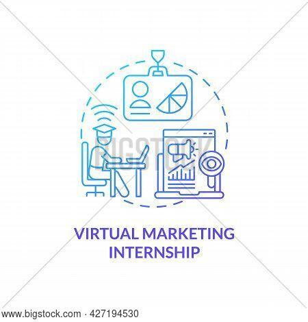 Virtual Marketing Internship Concept Icon. Remote Internship Abstract Idea Thin Line Illustration. O