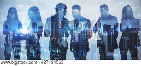 Colleages Standing On Abstract Illuminated City Background With Forex Chart. Teamwork And Trading Co