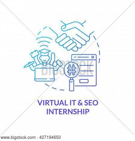 Virtual It And Seo Internship Concept Icon. Remote Internship Abstract Idea Thin Line Illustration.