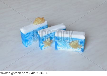 Three Pieces Of Original Handmade Soap Decorated With Figurines