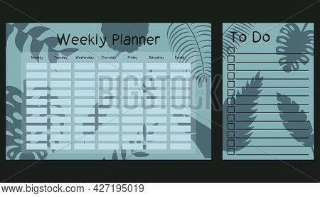 Weekly Planner And To Do List Template With Tropical Leaf Silhouette. Schedule Design For Kids. Gree
