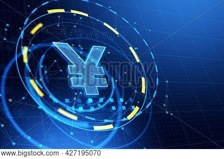 Abstract Yen Yuan Hologram On Dark Blue Background. Currency And Investment Concept. 3d Rendering